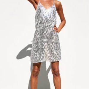 Zara Silver Sequin Dress Size M